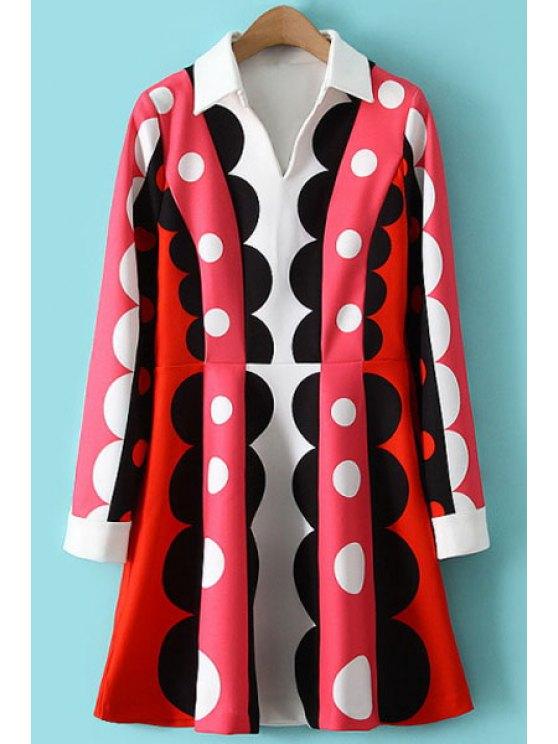 fancy Color Block Polka Dot Long Sleeve Dress - RED S