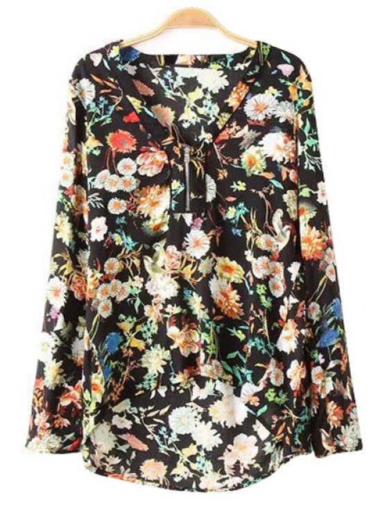 latest Asymmetrical Floral Print Shirt - BLACK S