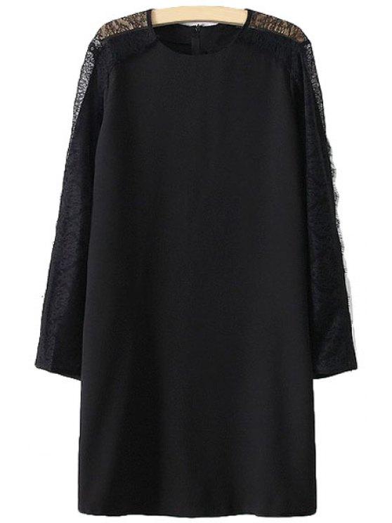 buy Lace Splicing Openwork Long Sleeve Dress - BLACK S