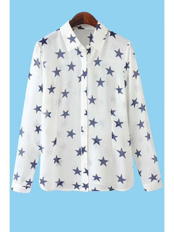 buy Star Print Long Sleeve Shirt - WHITE S