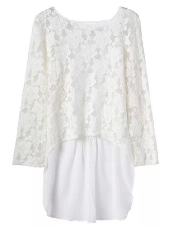 women's Lace Splicing Backless Long Sleeve Blouse - WHITE M