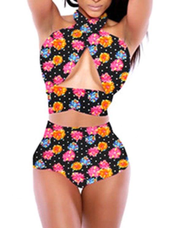 online Polka Dot Floral Bikini Set - 09# M