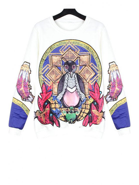 fashion Embroidery Patch Design Sweatshirt - WHITE ONE SIZE(FIT SIZE XS TO M)