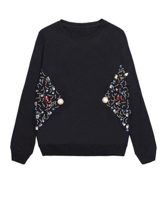 fancy Long Sleeve Beading Sweatshirt - BLACK ONE SIZE(FIT SIZE XS TO M)