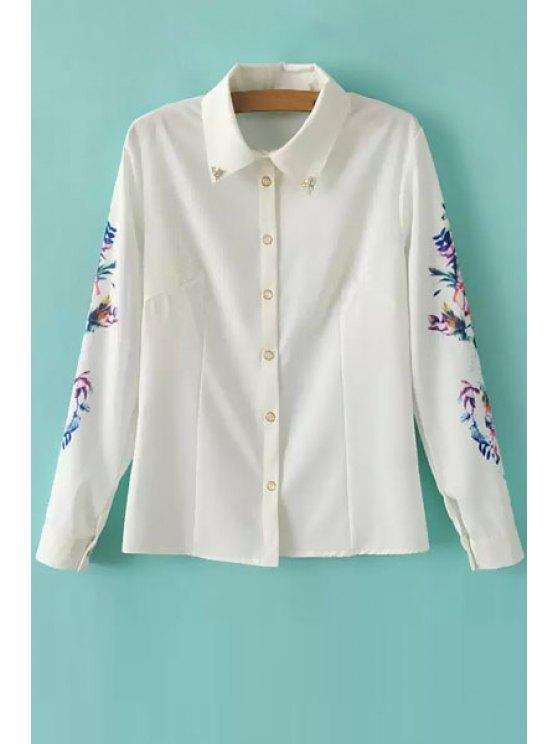 online Rhinestone Embellished Floral Print Shirt - WHITE S