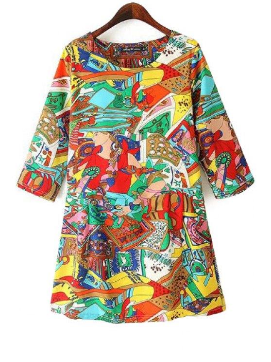 women's Colorful Figure Print 3/4 Sleeve Dress - YELLOW M