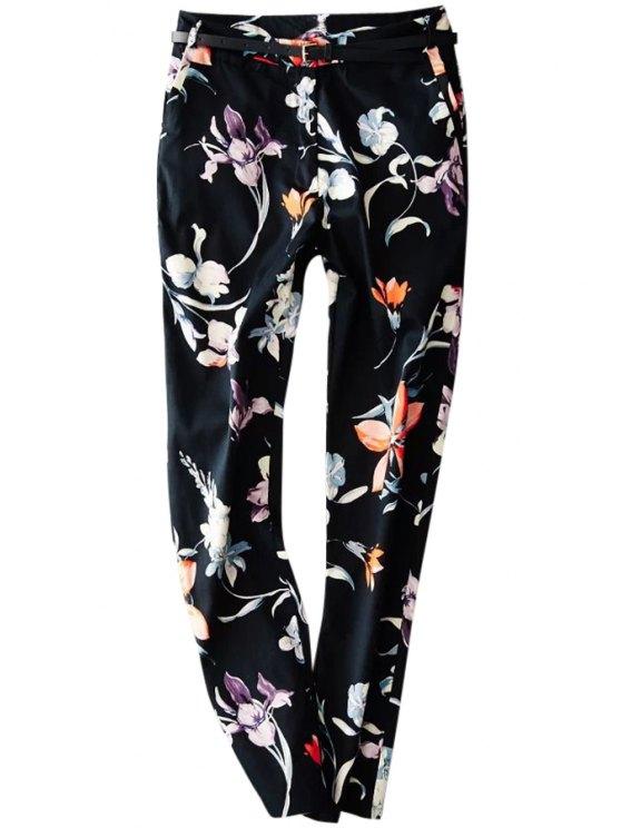 new Floral Print Zipper Fly Harem Pants - BLACK S
