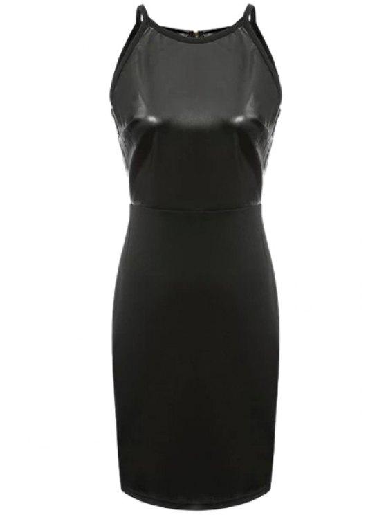 fashion Faux Leather Splicing Sleeveless Dress - BLACK S