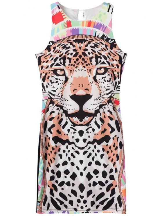 online Tiger Print Color Block Sleeveless Dress - COLORMIX S
