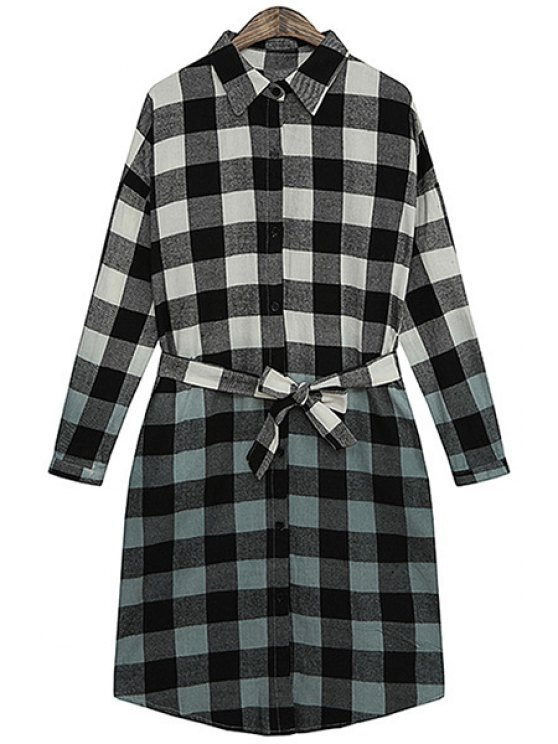 latest Plaid Color Block Tie-Up Dress - CHECKED ONE SIZE(FIT SIZE XS TO M)
