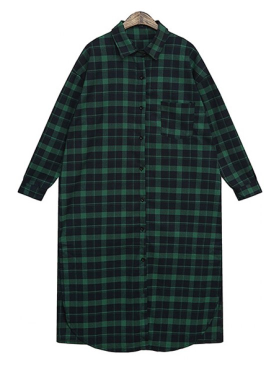 fashion Plaid Pocket Long Sleeve Dress - GREEN ONE SIZE(FIT SIZE XS TO M)