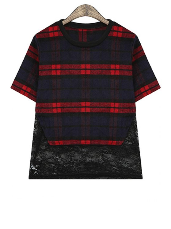 fashion Plaid Lace Splicing Short Sleeve T-Shirt - RED ONE SIZE(FIT SIZE XS TO M)