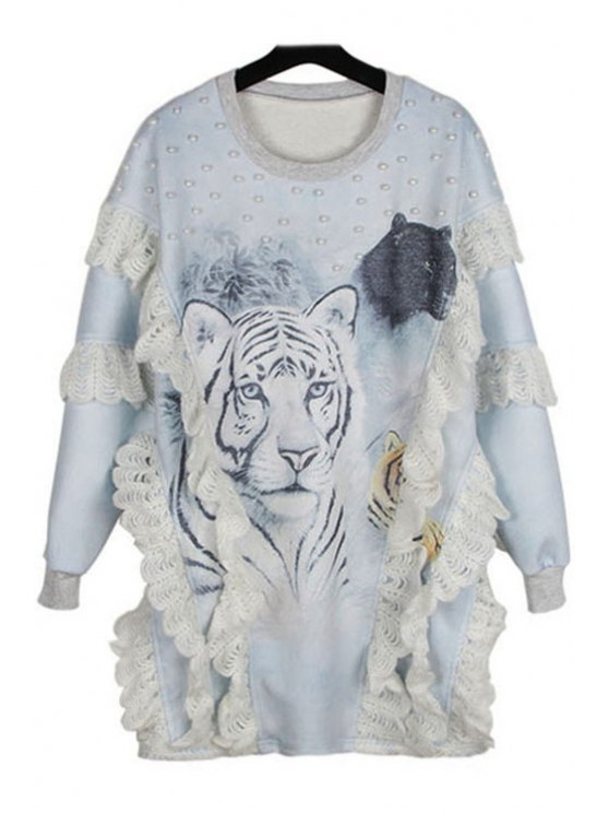 best Tiger Print Ruffles Sweatshirt - GRAY ONE SIZE(FIT SIZE XS TO M)