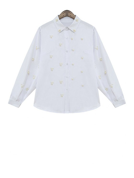 affordable Faux Pearl Solid Color Shirt - WHITE ONE SIZE(FIT SIZE XS TO M)