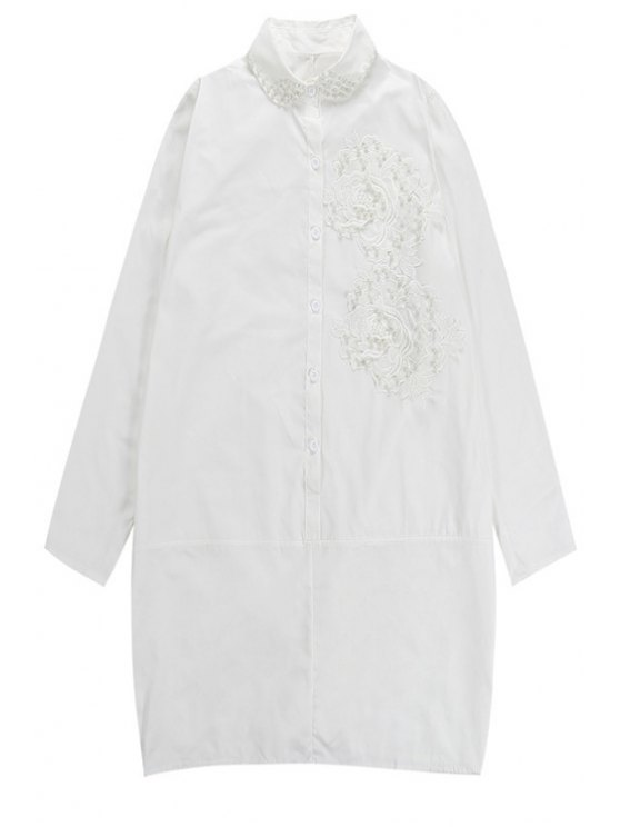 fashion Floral Embroidery Long Sleeve Dress - WHITE ONE SIZE(FIT SIZE XS TO M)