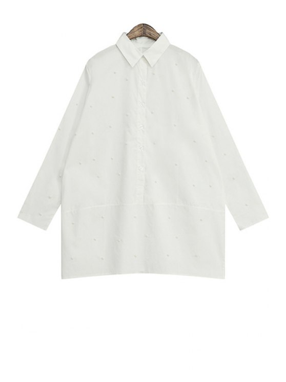 lady Solid Color Faux Pearl Shirt - WHITE ONE SIZE(FIT SIZE XS TO M)