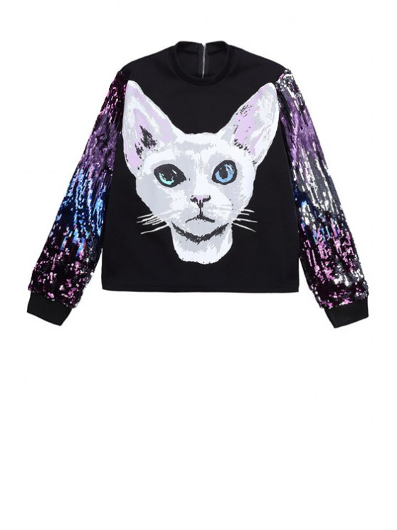 womens Cat Print Sequins Sweatshirt - BLACK ONE SIZE(FIT SIZE XS TO M)