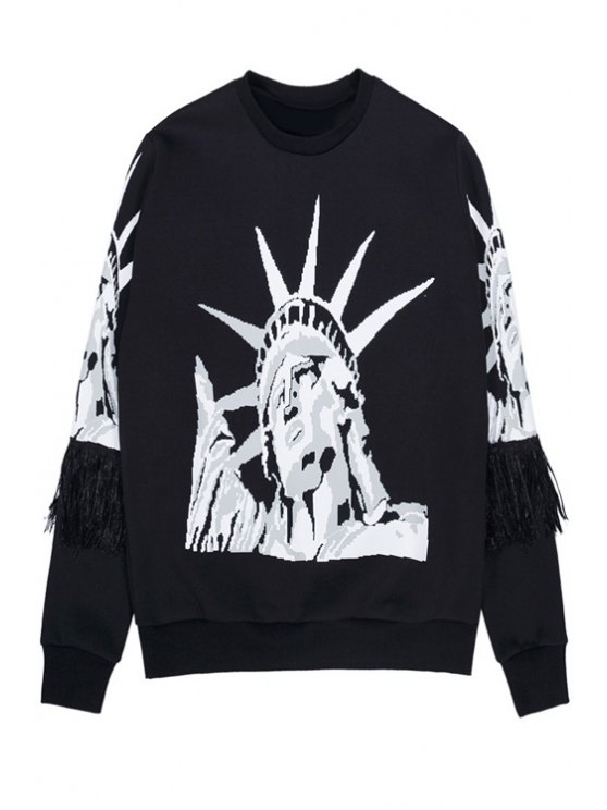 online Statue of Liberty Print Sweatshirt - BLACK ONE SIZE(FIT SIZE XS TO M)