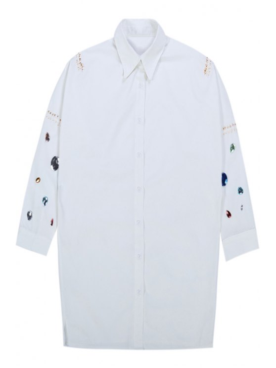 outfit Diamante Long Sleeve Shirt - WHITE ONE SIZE(FIT SIZE XS TO M)