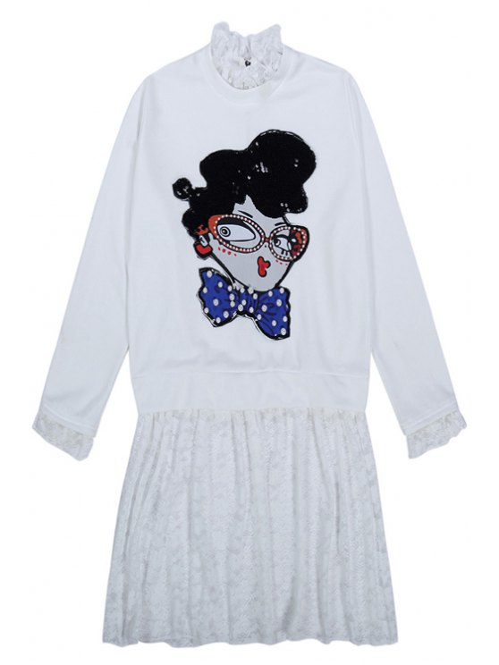 chic Cartoon Pattern Lace Splicing Dress - WHITE ONE SIZE(FIT SIZE XS TO M)