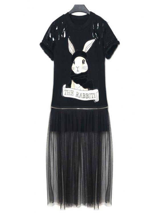 latest Rabbit Applique Sequins Voile Splicing Dress - BLACK ONE SIZE(FIT SIZE XS TO M)