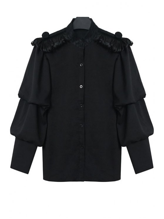 trendy Solid Color Lantern Sleeve Shirt - BLACK ONE SIZE(FIT SIZE XS TO M)