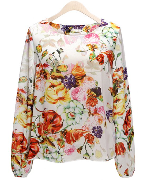 trendy Floral Print Backless Blouse - COLORMIX S