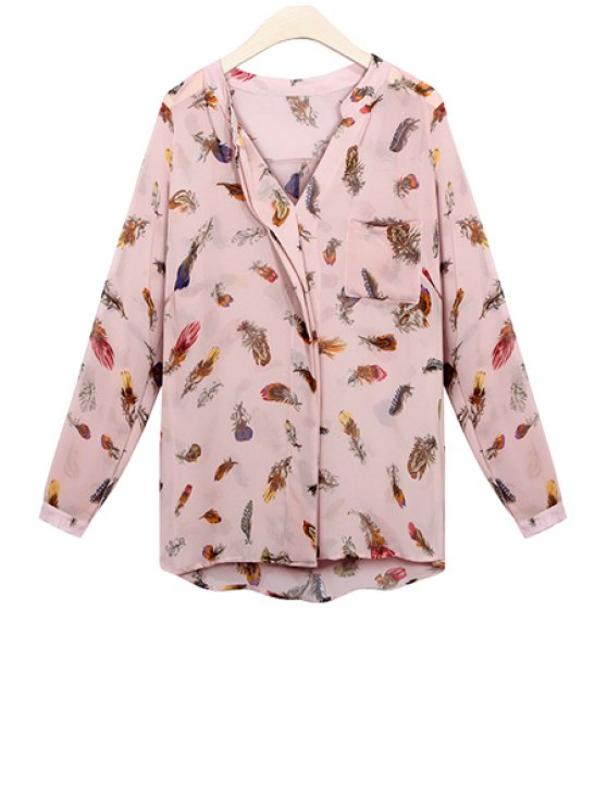 affordable Long Sleeve Feather Print Blouse - PINK S