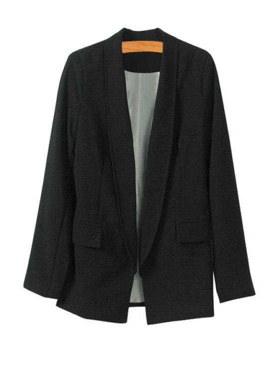 chic Solid Color Shawl Collar Blazer - BLACK S