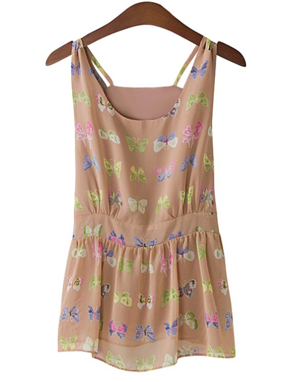 hot Sleeveless Butterfly Print Blouse - COFFEE M