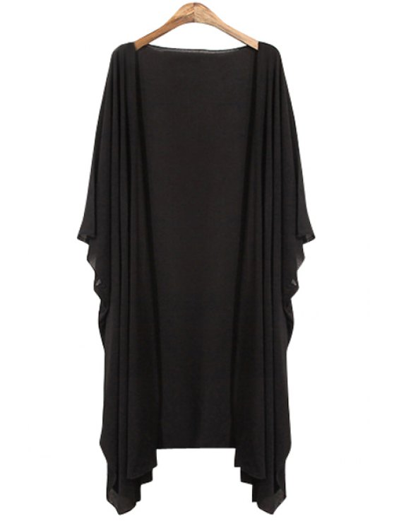 fashion Black 3/4 Sleeve Blouse - BLACK ONE SIZE(FIT SIZE XS TO M)