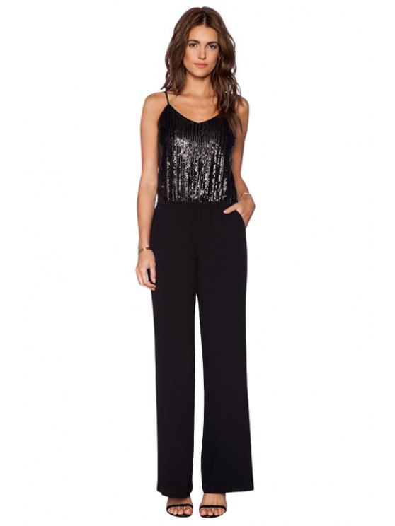 fancy Spaghetti Straps Sequins Jumpsuit - BLACK S