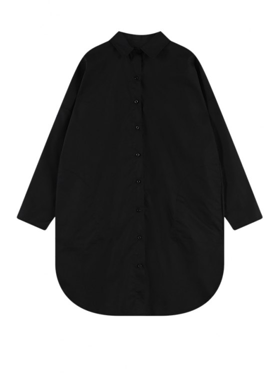women's Solid Color Long Sleeve Shirt - BLACK ONE SIZE(FIT SIZE XS TO M)