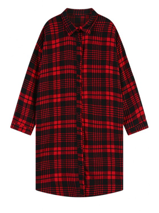outfits Polo Collar Plaid Long Sleeve Shirt - RED ONE SIZE(FIT SIZE XS TO M)