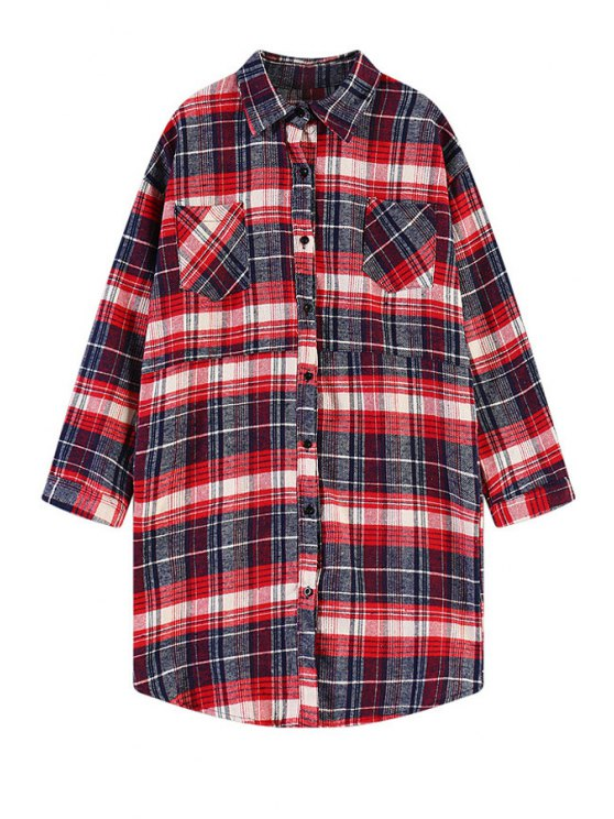 shops Plaid Cartoon Rabbit Print Shirt - RED ONE SIZE(FIT SIZE XS TO M)