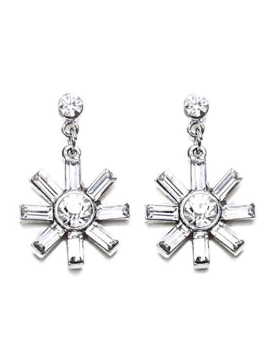 unique Retro Faux Crystal Flower Earrings - SILVER