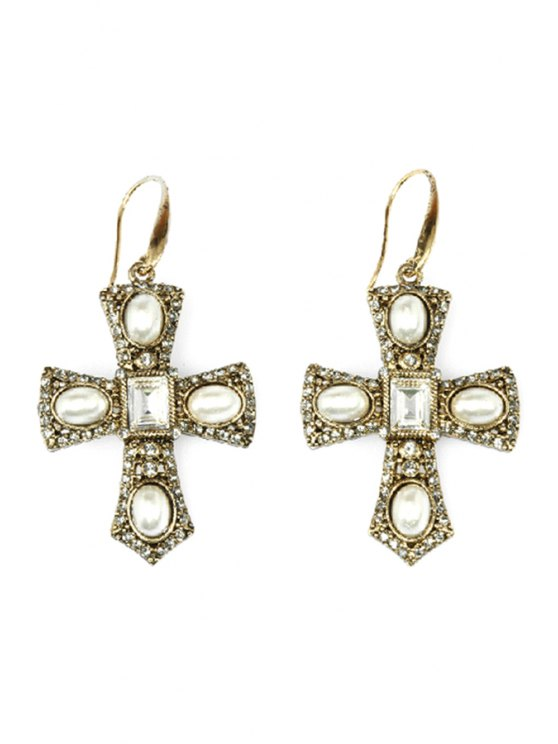 affordable Retro Rhinestone Faux Pearl Cross Earrings - GOLDEN