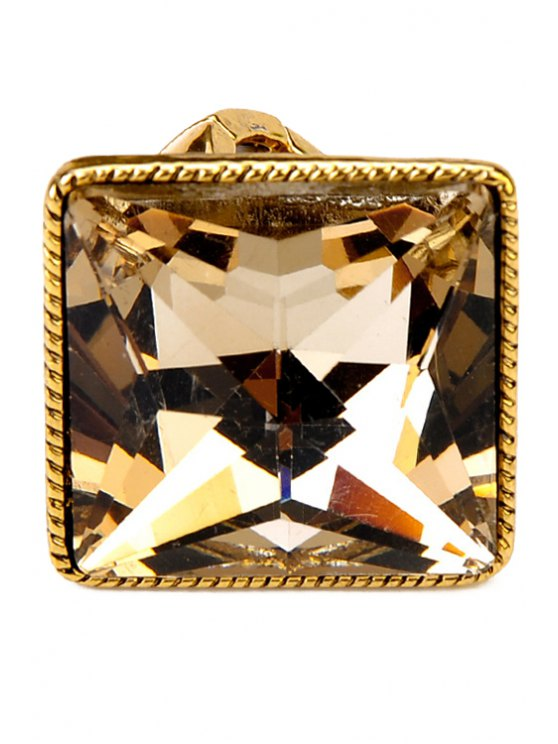 best Chic Faux Gem Square Ring - GOLDEN ONE-SIZE