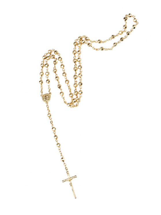 womens Chic Cross Pendant Sweater Chain Necklace - GOLDEN