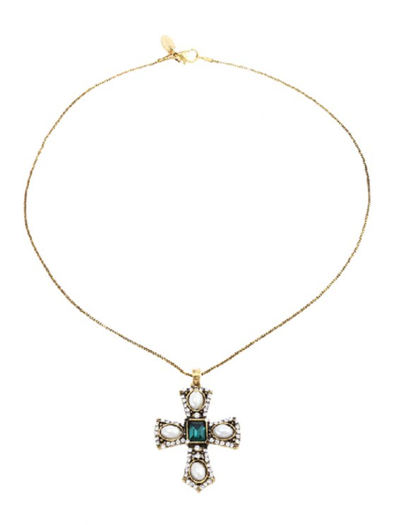 sale Retro Faux Pearl Rhinestone Cross Pendant Necklace - GOLDEN