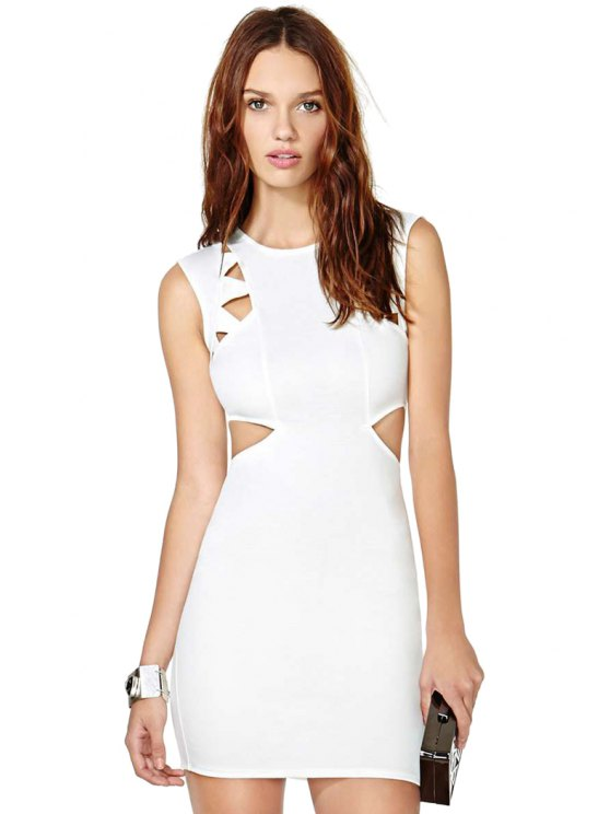 women's White Hollow Sleeveless Dress - WHITE S