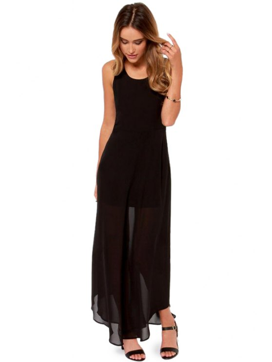 buy Sleeveless Solid Color Maxi Dress - BLACK S