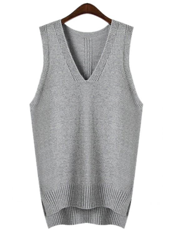 affordable Asymmetrical Side Slit Sweater - GRAY ONE SIZE(FIT SIZE XS TO M)