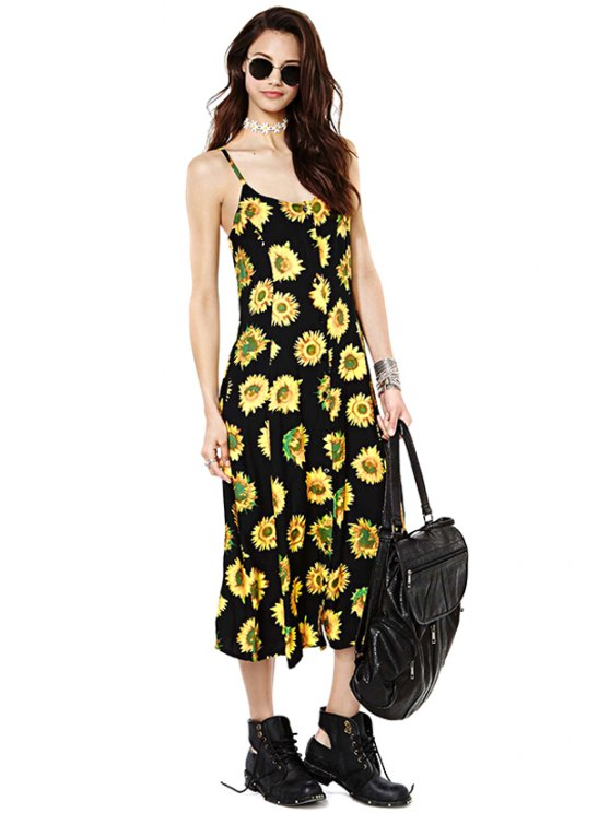 shops Sunflower Print Spaghetti Straps Dress - YELLOW AND BLACK S