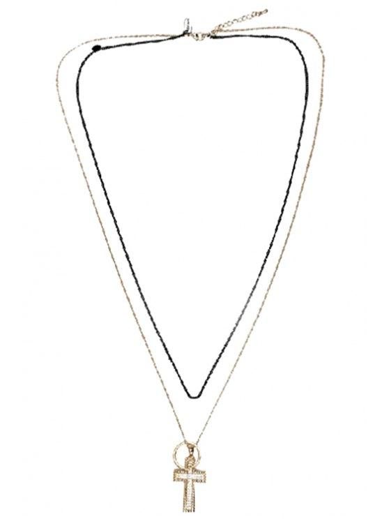 best Stylish Rhinestone Cross Layered Link Sweater Chain Necklace - GOLDEN