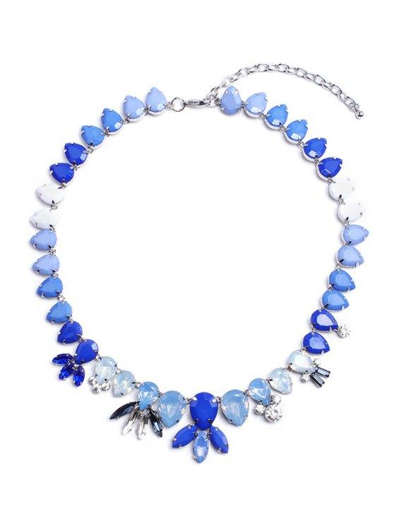 women's Sweet Rhinestone Flower Pendant Necklace - BLUE