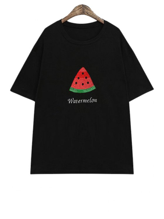 ladies Watermelon Print Short Sleeve T-Shirt - BLACK ONE SIZE(FIT SIZE XS TO M)