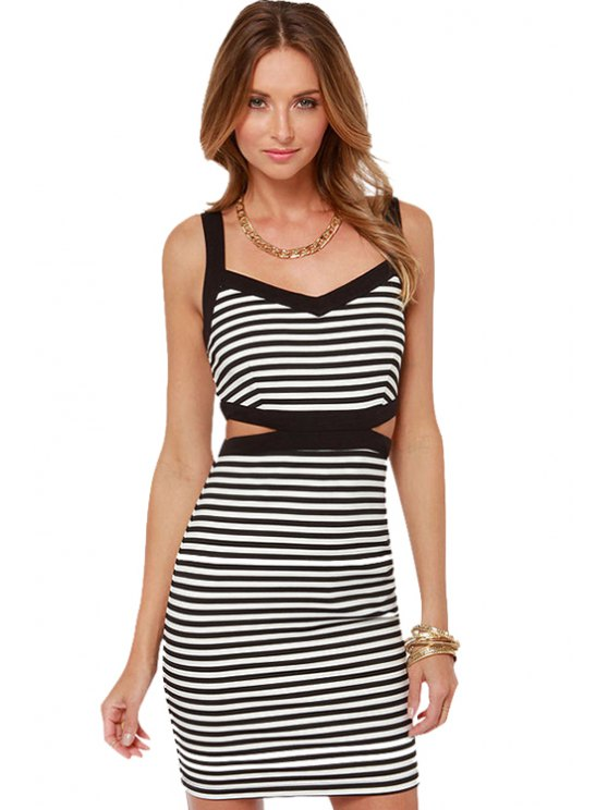 buy Striped Straps Bodycon Dress - STRIPE S