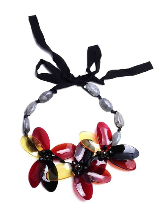 new Retro Beads Flower Sweater Chain Necklace - RED