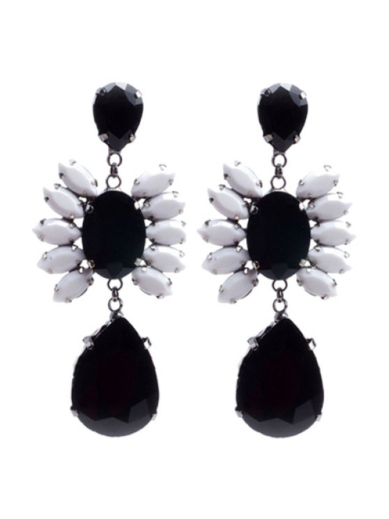 lady Delicate Rhinestone Flower Drop Pendant Earrings - BLACK